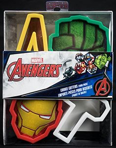 Marvel Avengers Cookie Cutters 4 Pack Iron Man Hulk Thor Hammer and Signature A -- Click on the image for additional details.Note:It is affiliate link to Amazon.