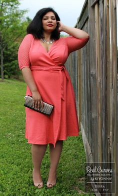 """Real Curve Cutie and model, Tierra (5'7.5"""" and a size 1x/2x) looks amazing in our plus size Honeycomb Wrap Dress for a fabulous Canadian boutique, SexyPlus Clothing.  Explore more Real Curve Cutie OOTD pics at www.kiyonna.com.  #KiyonnaPlusYou  #MadeintheUSA"""