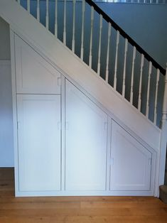 Bespopke understairs storage ideas to make the best of all available space. Local carpenters based in Cambridge. Garage Wall Storage, Corner Storage, Garage Shelving, Garage Walls, Garage Organization, Staircase Storage, Stair Storage, Staircase Makeover, Black Pegboard