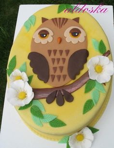 Owl cake Beautiful Cake Designs, Beautiful Cakes, Amazing Cakes, No Bake Cookies, Cupcake Cookies, Owl Desserts, Owl Cake Birthday, Owl Cakes, Piece Of Cakes