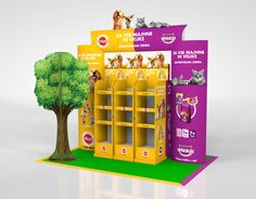 Pedigree / Whiskas island on Behance Pallet Display, Pop Display, Display Design, Booth Design, Display Shelves, Marketing Merchandise, Counter Display, Point Of Purchase, Food Displays
