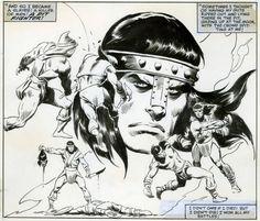 jonh buscema art - Pesquisa Google Comic Book Artists, Comic Artist, Comic Books Art, Caricature, Conan The Destroyer, Sword Drawing, Roman, John Buscema, Conan The Barbarian