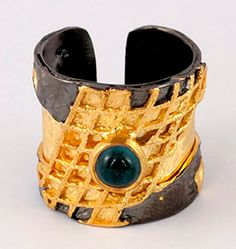 Green tourmaline Silver ring, Black gold wide silver artisan ring