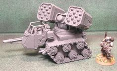 Created this Mini Weapons Battery Vehicle. It can use any turret style weapons. So you can put the Razerback turret, whirlwind turret, hyperios or any Warhammer Figures, Warhammer Models, Warhammer 40k Miniatures, 40k Armies, Model Tanks, Freaking Awesome, Warhammer 40000, Weapons, Starcraft
