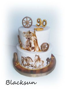 "Birthday cake for a ""young"" man who loves horses – whole his life was about horses and working with them :) It was my pleasure to work on the cake :) (inspiration from horses cakes by Moli cakes :) Cowboy Birthday Cakes, 90th Birthday Cakes, Cowboy Cakes, Horse Birthday, Horse Cupcake, Western Cakes, First Communion Cakes, Hand Painted Cakes, Farm Cake"