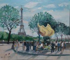 #EhlingerChristian, born in 1931 Place de l'Alma and the #EiffelTower. #Paris Oil on canvas, signed lower left