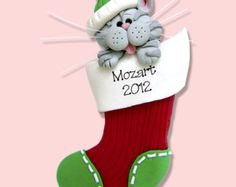 Gray Tabby Christmas KITTY CAT in Stocking HANDMADE Polymer Clay Personalized Christmas Ornament