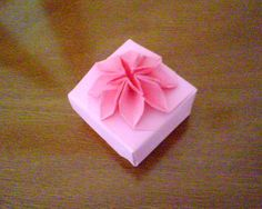 Pink origami flower box