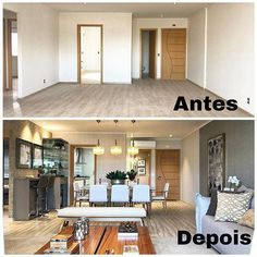 That Before and After we love, amazing transformation of this apartment. Apartment Interior, Interior Design Living Room, Living Room Designs, Home Renovation, Home Remodeling, Home Staging, Small Apartments, Decor Interior Design, Home And Living