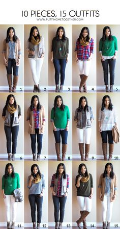 Fall Packing Mini Capsule Wardrobe - 10 Pieces, 15 Outfits