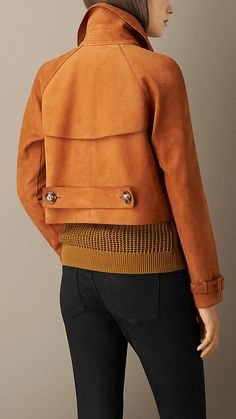 Burberry Orange Ochre Cropped Oversize Nubuck Jacket - A grainy nubuck jacket cut in a cropped oversize shape. The jacket features horn-look buttons and a double-breasted closure.  Discover the women's outerwear collection at Burberry.com