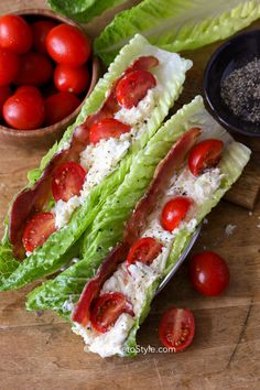 Classic Egg Salad piled high in lettuce leaves with bacon and tomatoes makes the perfect easy keto lunch or snack! Classic Egg Salad piled high in lettuce leaves with bacon and tomatoes makes the perfect easy keto lunch or snack! Blt Recipes, Wrap Recipes, Cooking Recipes, Tofu Recipes, Keto Egg Salad, Easy Egg Salad, Sandwich Wrap, Wrap Sandwiches, Salad Sandwich