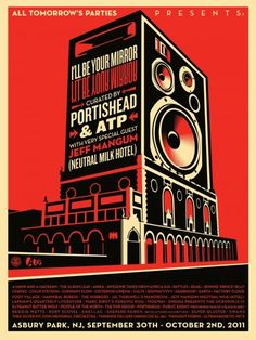 Shepard Fairey's All Tomorrow's Parties 2011 Poster. Depicting Paramount Theatre and Convention Hall.