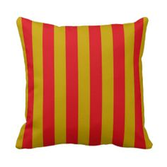 Red and Gold Stripes Pillow