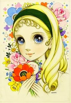 Flower Themed ...[]... Art Big-eyed Girl-pin it by #carden