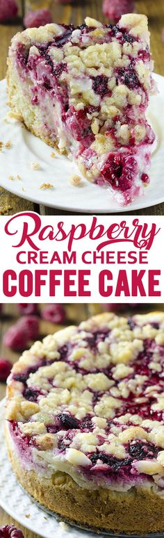 Raspberry Cream Cheese Coffee Cake – all flavors you love, you'll get here in every bite: moist and buttery cake, creamy cheesecake filling, juicy raspberries and crunchy streusel topping.q (Raspberry Muffin Coffee Cake) Just Desserts, Delicious Desserts, Dessert Recipes, Yummy Food, Breakfast Recipes, Breakfast Cake, Sweet Breakfast, Breakfast Ideas, Brunch Cake