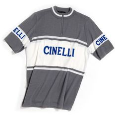 Cinelli's Antonio Colombo commissioned De Marchi to recreate this iconic Cinelli jersey. Originally created for Cinelli's Milano laboratorio and shop at 45 Via Egidio Folli on the eastern outskirts of Milano, the Cinelli jersey was exported worldwide to accompany the beautiful bicycles and classic Cinelli accessories that were cherished by bicycle aficionados around the globe. Doug Dale, a well-known American racer in the 1960's and '70's le...
