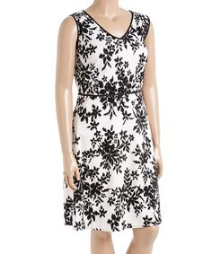 Another great find on #zulily! London Times White & Black Ikat Branch V-Neck Dress - Plus by London Times #zulilyfinds