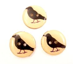 3 Primitive Crow Painted Wooden Novelty by TimesNotForgotten