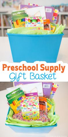 Preschool Supply Gift Basket – Munchkins and Moms Preschool Supply Gift Basket (great as an easter basket for preschoolers! Thank You Baskets, Kids Gift Baskets, Teacher Gift Baskets, Gourmet Gift Baskets, Easter Baskets, Raffle Baskets, Basket Gift, Preschool Supplies, Preschool Gifts