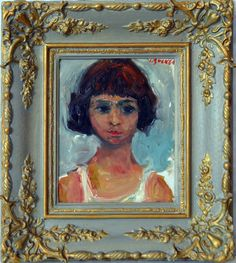 Portrait of a Young Girl | See more Portrait Paintings at https://www.1stdibs.com/art/paintings/portrait-paintings on 1stdibs
