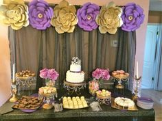 Glam dessert table at a gold, purple and black birthday party! See more party ideas at CatchMyParty.com!