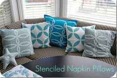 DIY Stenciled Napkin Pillows - these are adorable and easy to make.  Follow this step by step!