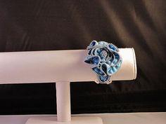 Bold and Chunky Adjustible Blue Zipper Bracelet