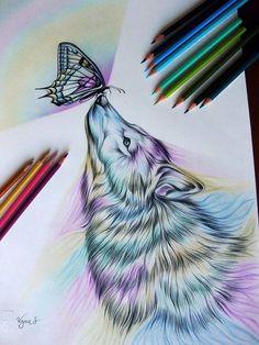 Imagen de wolf, art, and butterfly