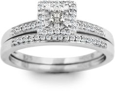 Ice 1/4 CT TW Diamond 925 White Sterling Silver Square Fitted Halo Ring Bridal Set #bride #wedding #jewelry #bridaljewelryideas