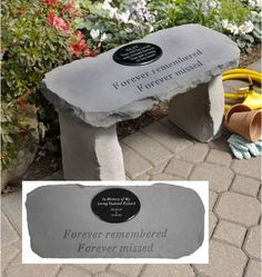 Forever Remembered Personalized Cast Stone Memorial Garden Bench