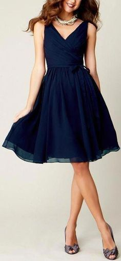 Customized V Neck A Line Chiffon Knee Length Formal Party Dress Elegant Cheap Navy Blue Short Bridesmaid Dress 2016 _ {categoryName} - AliExpress Mobile Version - Navy Wedding Guest Dresses, Blue Bridesmaid Dresses Short, Homecoming Dresses, Blue Dresses, 1950s Dresses, Navy Dress For Wedding, Wedding Shoes, Dresses 2014, Party Dresses