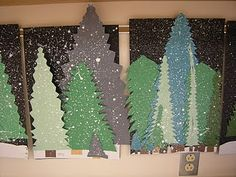 @Jana Putos imagine this REALLY BIG as a backdrop for the kids holiday program. All I need is big pieces of cardboard, colored spray paint, and glitter spray paint.