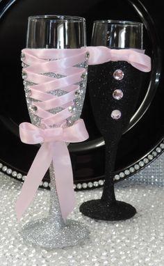 Corset vino/champán flauta vidrio Glitter plata por LuxxCouture