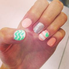 Peach and mint chevron glitter nails