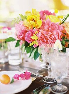 Pink and Yellow Peony Centerpiece | Ryan Ray Photography | Bright and Colorful Preppy Summer Wedding