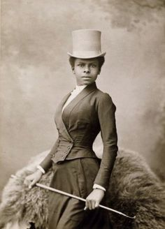 Studio portrait of an African American female equestrian rider from the late 1800s.