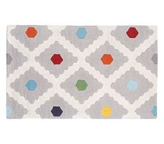 Multi Dot Rug in 8 x 10, this is a fun rug, light enough so the dog's hair won't show, brings in fun bright colors but not crazy busy