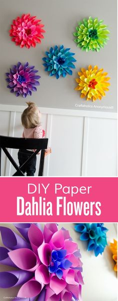 DIY Paper Dahlia flowers in a rainbow of colors! These are great for cheap wedding decor, baby showers, nursery decor, parties, etc.