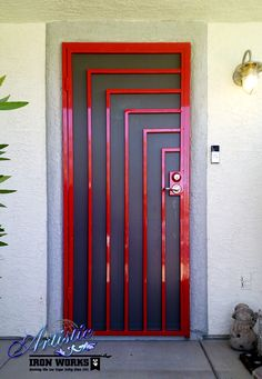 Example of brightly coloured & high gloss security door with bars contrasting to mesh behind it. Wrought Iron Security Doors, Wrought Iron Doors, Window Security, Security Screen, Tor Design, Window Bars, Window Grill Design, Door Gate Design, Metal Gates