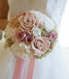 Round Bridal Bouquet Showcasing: White Hydrangea, Green Hydrangea, White Roses, White Spray Roses, Sandy Taupe Colored Roses, Dusty Lavender Roses