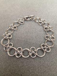 Japanese cross aluminum bracelet with toggle clasp