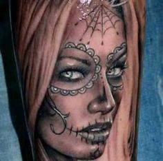 Realistic Day Of The Dead Girl Portrait Tattoo