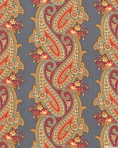 Caswell County - Interlaced Paisley Stripe - Persian Gray, fabric from eQuilter Paisley Art, Paisley Design, Paisley Pattern, Pattern Art, Pattern Design, Paisley Quilt, Cool Patterns, Textures Patterns, Fabric Patterns
