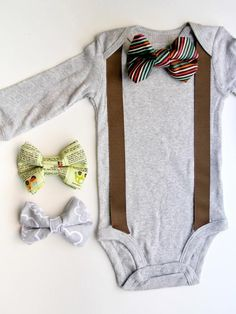 Suspenders and bowties are a timeless classic for every gentleman, but they happen to look especially cute on babies. Learn how to get this look with plain store-bought onesie, some fabric and a few basic sewing supplies.
