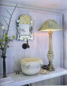 John Saladino Kitchen | John Saladino's perfect powder room by rebekah Note lamp from Andy