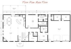 Combination Barn Home Garage Main Floor Plan. A kit for $130k. two more rooms and loft on 2nd floor