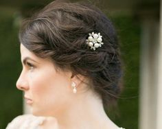 Wedding Hair Clips - Floral Pearl Hair Clip With Crystals, Uma Wedding Hair Clips, Bow Hair Clips, Up Styles, Hair Styles, Absolutely Gorgeous, Beautiful, Hair Jewelry, Fashion Advice, Ear Piercings