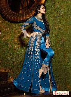 LadyIndia.com # Designer Salwar Suit, Malaika Arora Khan Front Open Long Kali Georgette Suit Pant Style Bottom, Anarkali Suit, Designer Salwar Suit, https://ladyindia.com/collections/ethnic-wear/products/new-arrival-malaika-arora-khan-wedding-wear-georgette-suit-salwar-suit-new-fashion-trends