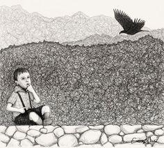 Illustrazione tratta dal diario di Yakov, un blog di fantascienza contadina del 1964 - 11° Giorno - Piccolo Budimir sogna di volare via